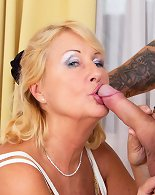 Horny mature slut having sex with her toy boy